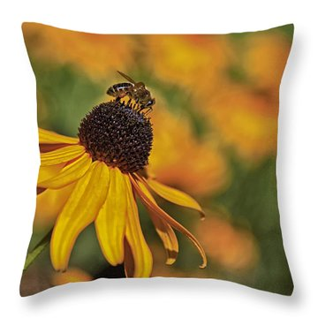 A Bee In My Bonnet Throw Pillow by Gary Hall