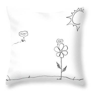 A Bee Thinking  Food! And A Flower Thinking  Sex! Throw Pillow