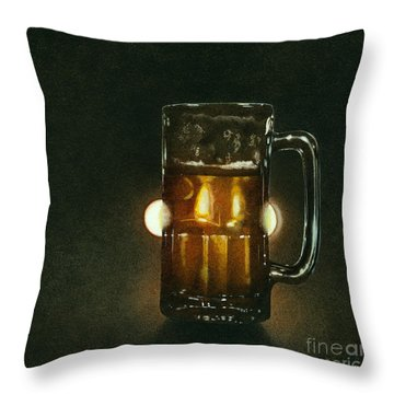 A Beer In The Headlights... Throw Pillow by Will Bullas