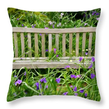 A Bench For The Flowers Throw Pillow by Gary Slawsky