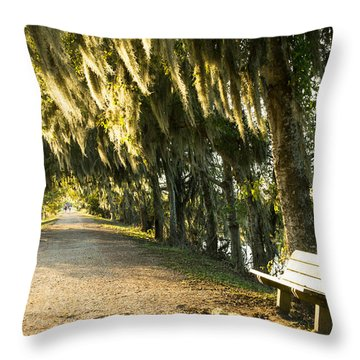 A Bench Under Golden Spanish Moss Throw Pillow by Ellie Teramoto