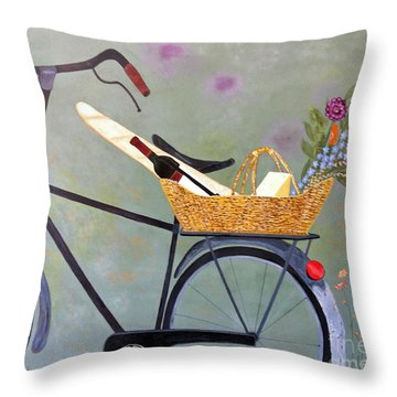 A Bicycle Break Throw Pillow by Brenda Brown