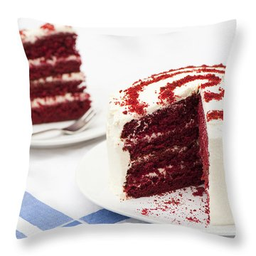 A Big Red Cake Throw Pillow by Anne Gilbert