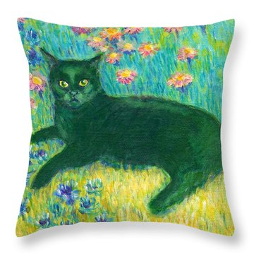 A Black Cat On Floral Mat Throw Pillow