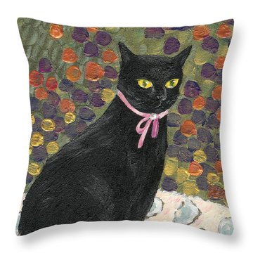 A Black Cat On Oyster Mat Throw Pillow