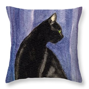 A Black Cat's Sexy Pose Throw Pillow
