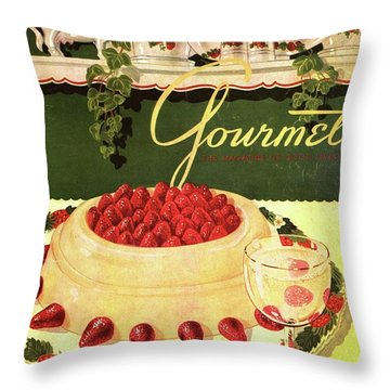 A Blancmange Ring With Strawberries Throw Pillow