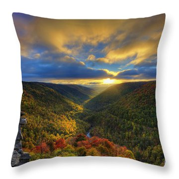 A Blue And Gold Sunset Throw Pillow