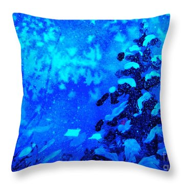 A Blue Christmas Throw Pillow by Gretchen Allen