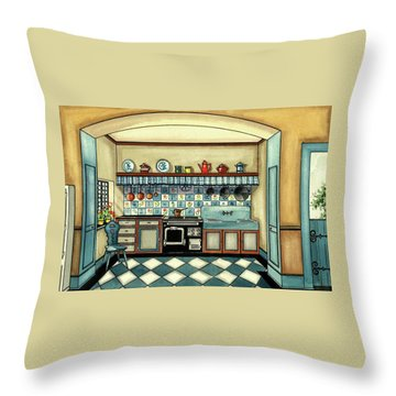 A Blue Kitchen With A Tiled Floor Throw Pillow