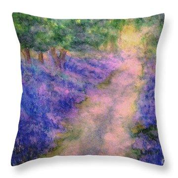 A Bluebell Carpet Throw Pillow by Hazel Holland