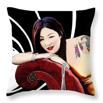 Throw Pillow featuring the painting A Bond Girl by Jann Paxton