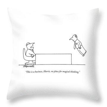 A Boss Behind A Desk Berates His Inferior Throw Pillow