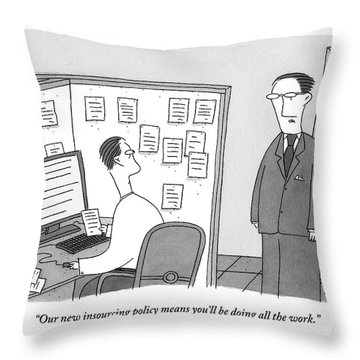 A Boss Speaks To A Man In His Cubicle As The Man Throw Pillow