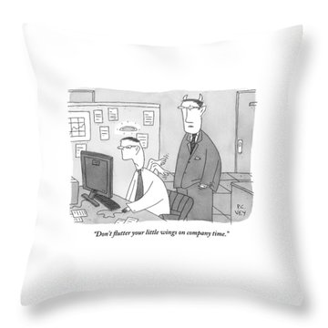 A Boss With Devil's Horns Speaks To An Employee Throw Pillow