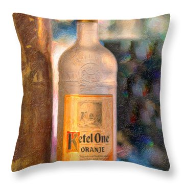 A Bottle Of Ketel One Throw Pillow by Angela A Stanton