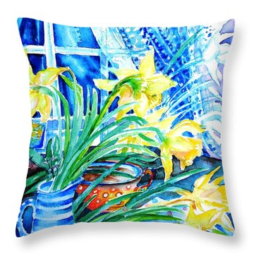 A Bouquet Of April Daffodils  Throw Pillow by Trudi Doyle