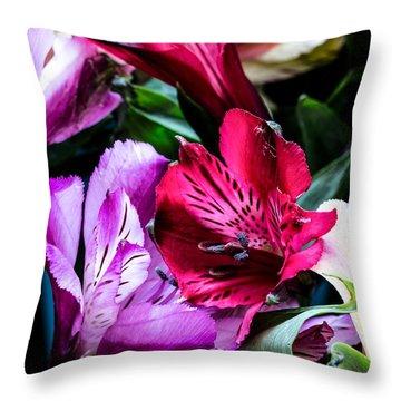 A Bouquet Of Peruvian Lilies Throw Pillow