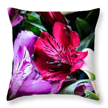 A Bouquet Of Peruvian Lilies Throw Pillow
