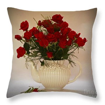 A Bouquet Of Red Rose Tea Throw Pillow by Inspired Nature Photography Fine Art Photography