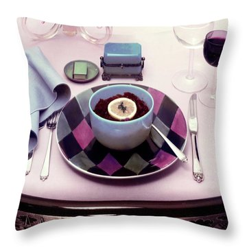 A Bowl Of Food On A Pink Table Throw Pillow