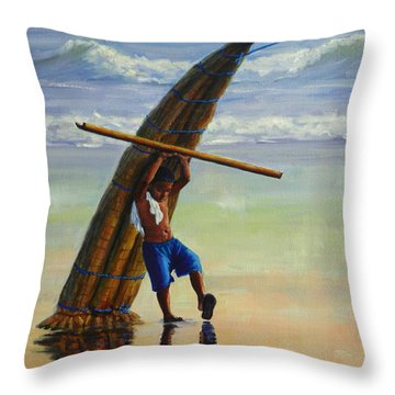 A Boy And His Caballito De Totora Throw Pillow
