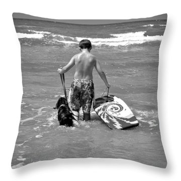 A Boy And His Dog Go Surfing Throw Pillow by Kristina Deane
