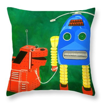 A Boy And His Dog Throw Pillow by Karyn Robinson