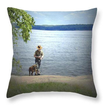 A Boy And His Dog Throw Pillow by Sandra Clark