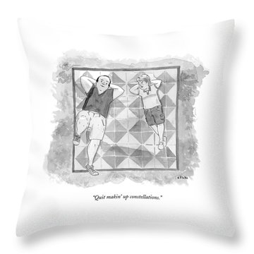 A Boy And His Father Look Up At The Stars Throw Pillow