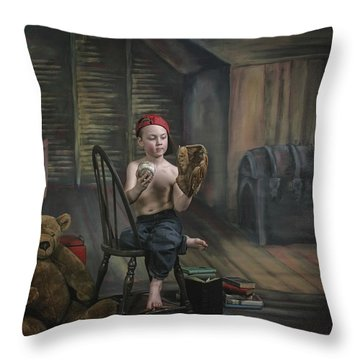 A Boy In The Attic With Old Relics Throw Pillow by Pete Stec
