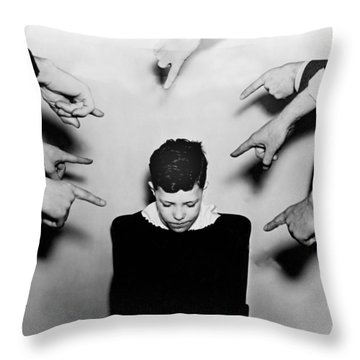 A Boy Is Shamed. Throw Pillow by Underwood Archives