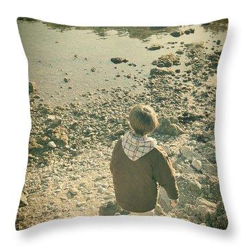 A Boy Throw Pillow by Jasna Buncic