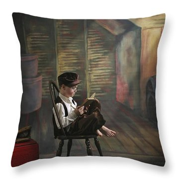 A Boy Posed Reading Old Books Victoria Throw Pillow by Pete Stec