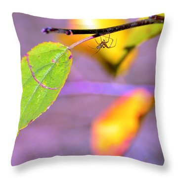 A Branch With Leaves Throw Pillow by Tommytechno Sweden