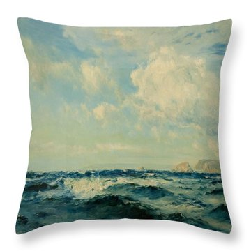 A Breezy Day Off The Isle Of Wight, 1890 Throw Pillow