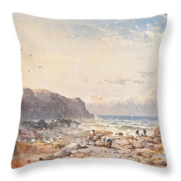 A Breezy Day With Fisherfolk On The Foreshore Throw Pillow
