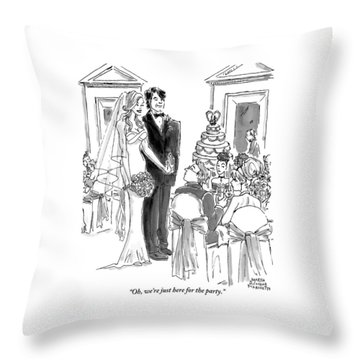 A Bride And Groom To The Guests At Their Wedding Throw Pillow