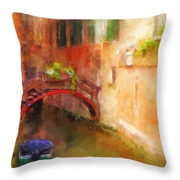 A Bridge In Venice Throw Pillow by Jane Fiala