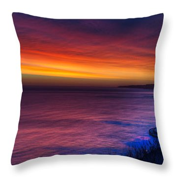 Throw Pillow featuring the photograph A Bright Colored Sunrise Panoramic At Scarborough Uk by Dennis Dame