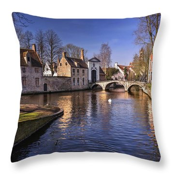 Blue Bruges Throw Pillow