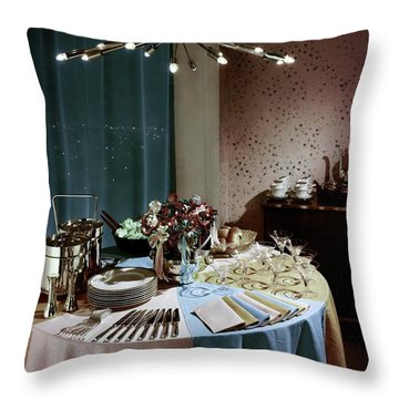 A Buffet Table At A Party Throw Pillow