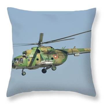 A Bulgarian Air Force Mi-8 Helicopter Throw Pillow