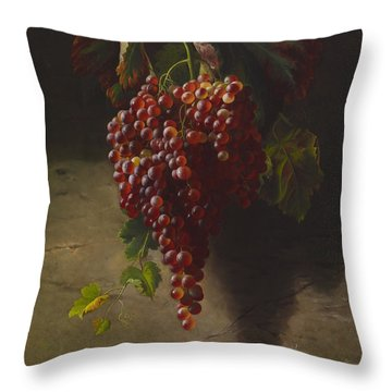 A Bunch Of Grapes Throw Pillow by Andrew John Henry Way