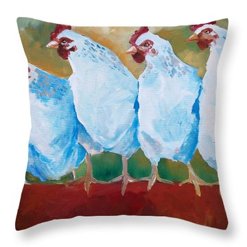 A Bunch Of Old Clucking Hens Throw Pillow