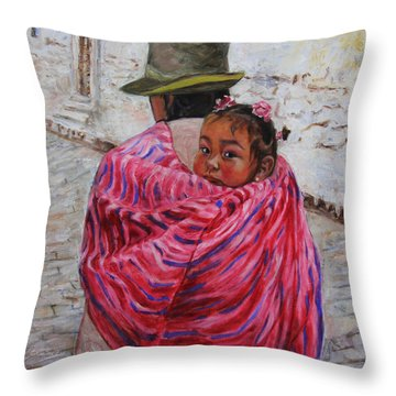 A Bundle Buggy Swaddle - Peru Impression IIi Throw Pillow by Xueling Zou