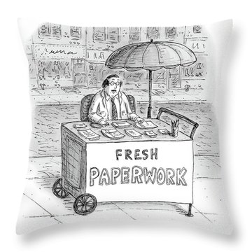 A Businessman Sits Behind A Food Cart/desk Throw Pillow