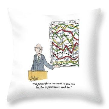 A Businessman Stands Behind A Podium Throw Pillow