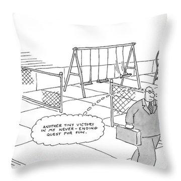 A Businessman Walks Away From A Playground Throw Pillow