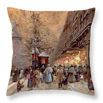 A Busy Boulevard Near The Place De La Republique Paris Throw Pillow by Eugene Galien-Laloue
